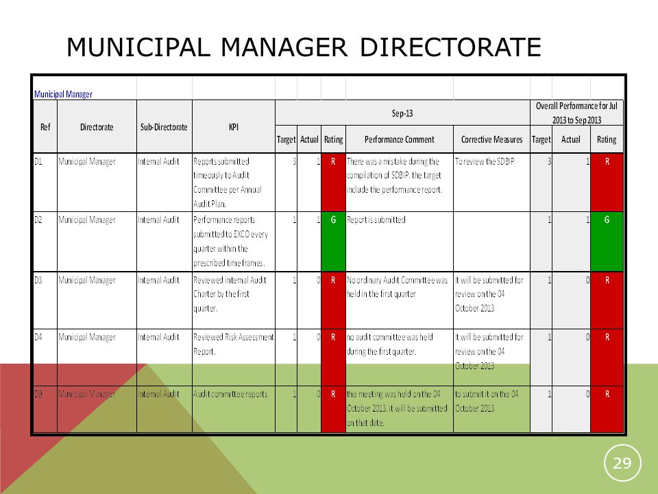 MUNICIPAL MANAGER DIRECTORATE 29