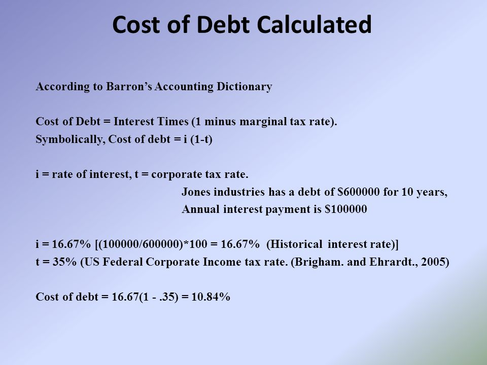 Cost of Debt Calculated According to Barron's Accounting Dictionary Cost of Debt = Interest Times (1 minus marginal tax rate).
