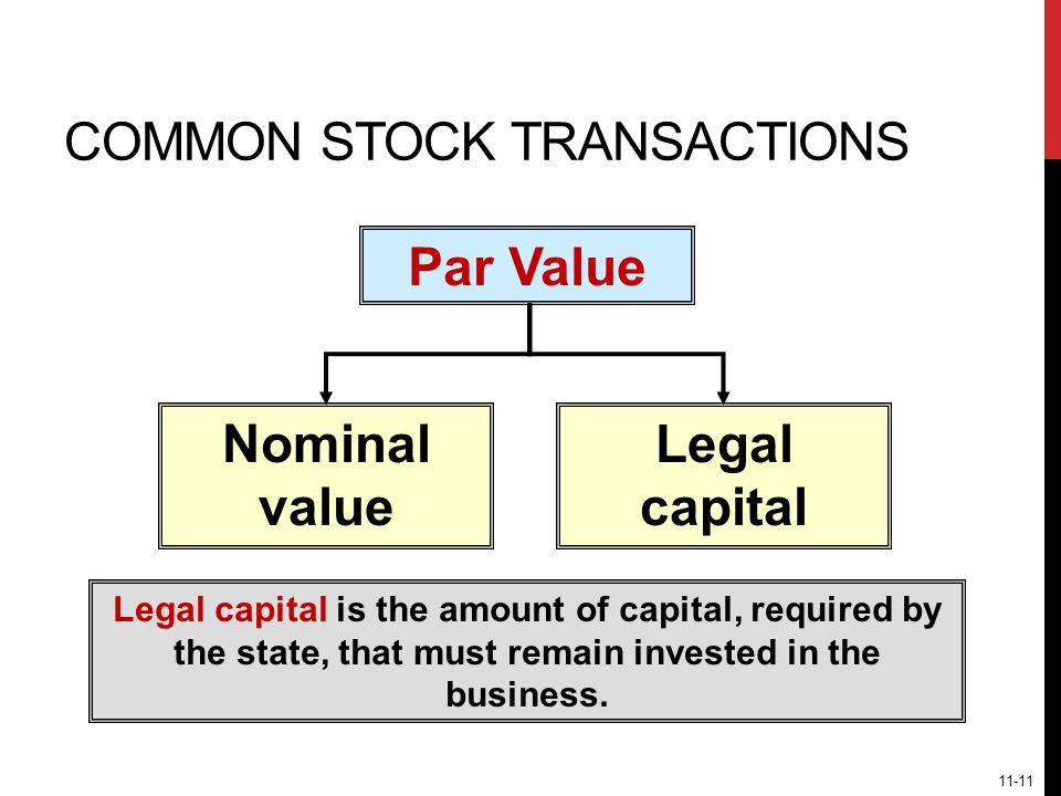COMMON STOCK TRANSACTIONS Legal capital is the amount of capital, required by the state, that must remain invested in the business.