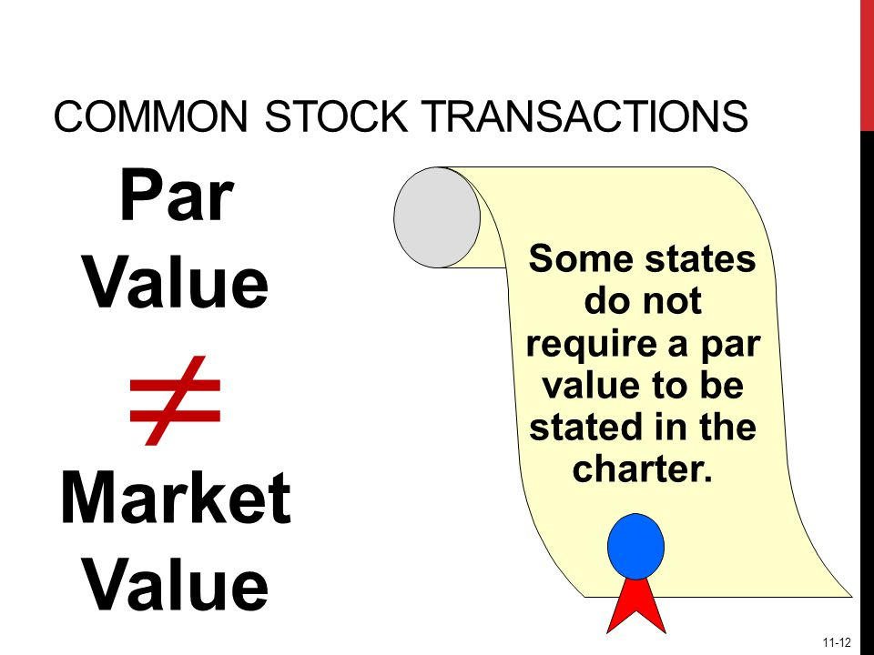 Par Value Market Value  COMMON STOCK TRANSACTIONS Some states do not require that a par value be stated in the charter.