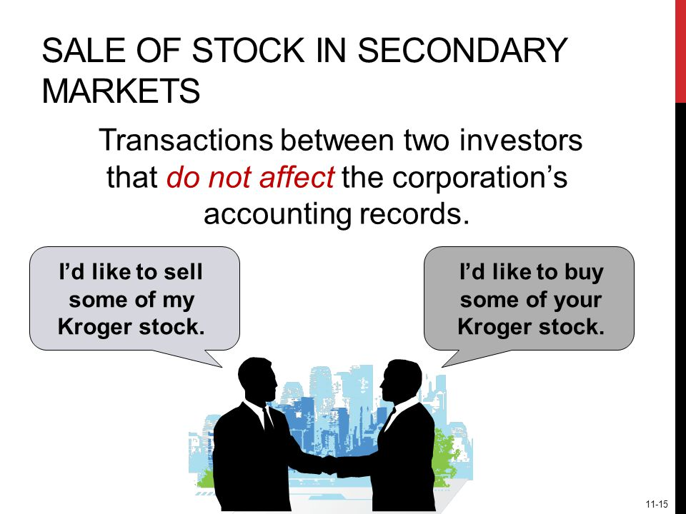 SALE OF STOCK IN SECONDARY MARKETS Transactions between two investors that do not affect the corporation's accounting records.