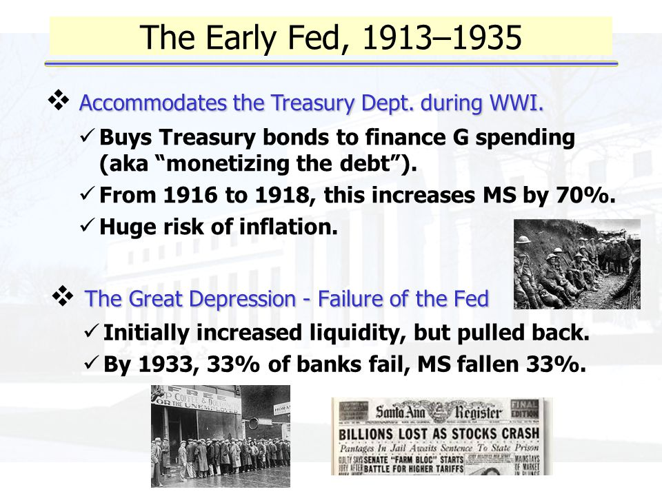 The Early Fed, 1913–1935 The Great Depression - Failure of the Fed  The Great Depression - Failure of the Fed Initially increased liquidity, but pulled back.