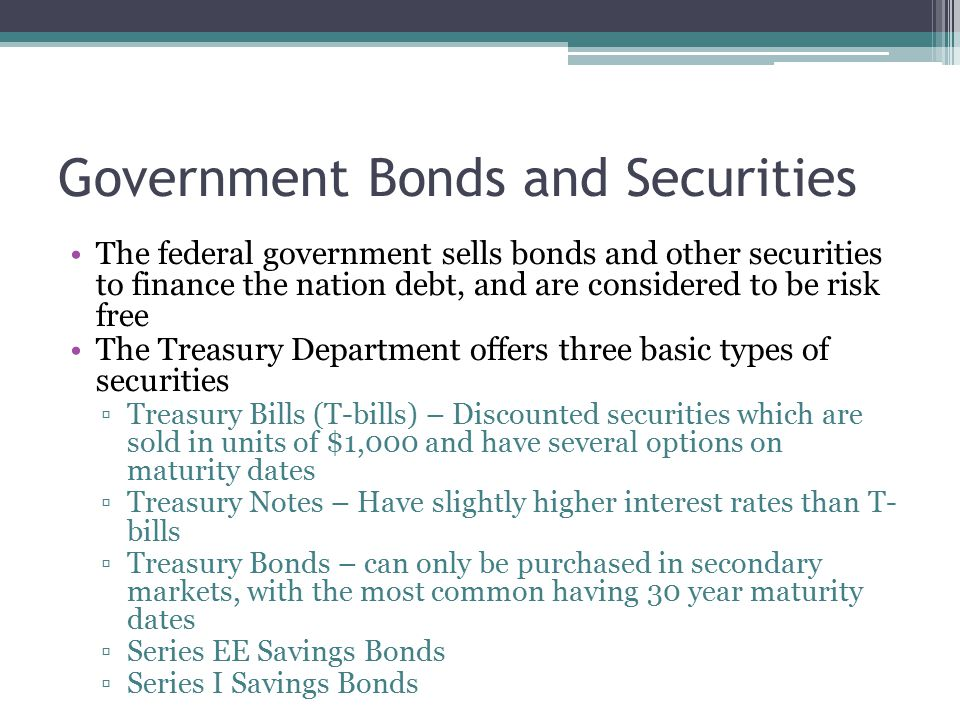 Bonds Issued by State and Local Governments Municipal bonds are securities issued by a state or local government to pay for ongoing activities Can be either general obligation or revenue bonds ▫General obligation – backed by full faith and credit ▫Revenue – repaid by income of government that issued bond  Ex.