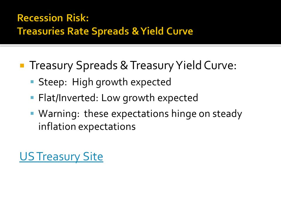  Treasury Spreads & Treasury Yield Curve:  Steep: High growth expected  Flat/Inverted: Low growth expected  Warning: these expectations hinge on steady inflation expectations US Treasury Site