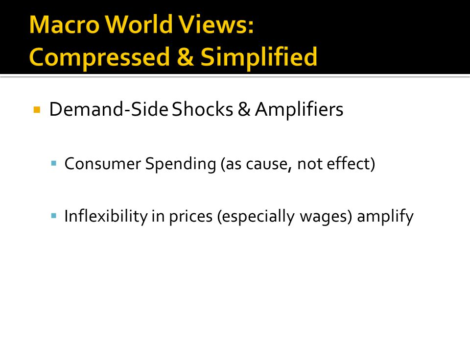  Demand-Side Shocks & Amplifiers  Consumer Spending (as cause, not effect)  Inflexibility in prices (especially wages) amplify