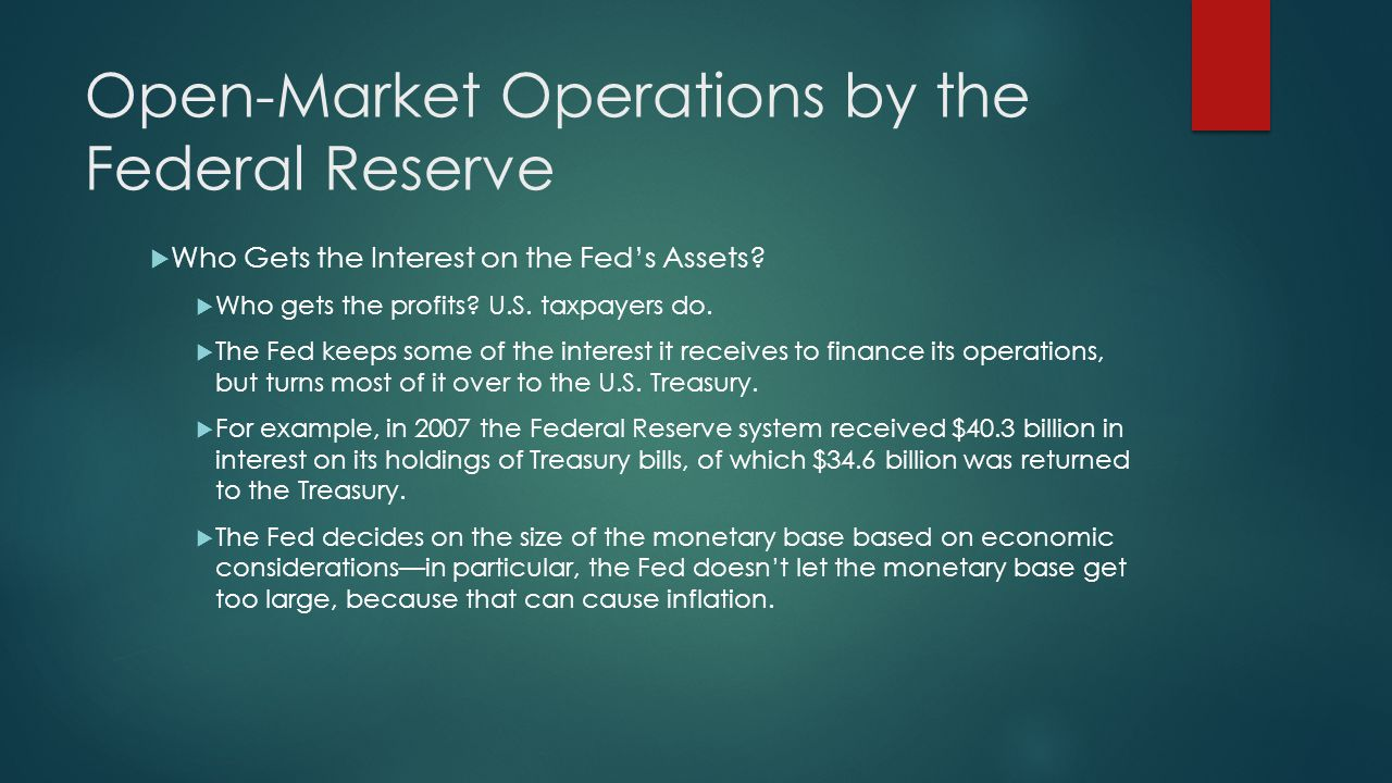 Open-Market Operations by the Federal Reserve  Who Gets the Interest on the Fed's Assets.