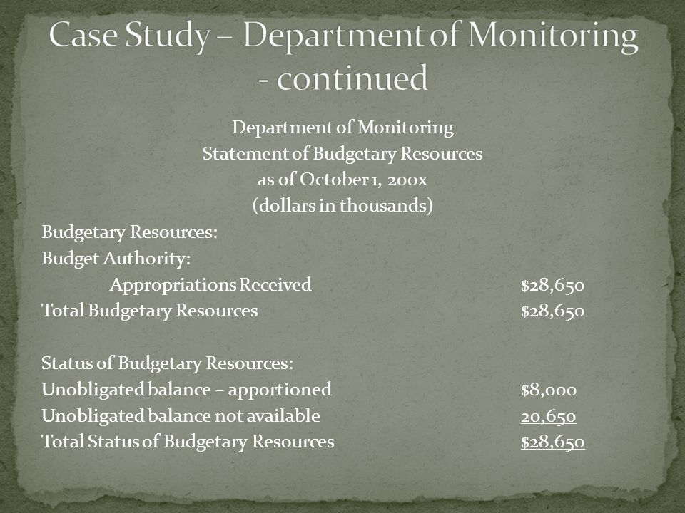 Department of Monitoring Statement of Budgetary Resources as of October 1, 200x (dollars in thousands) Budgetary Resources: Budget Authority: Appropri