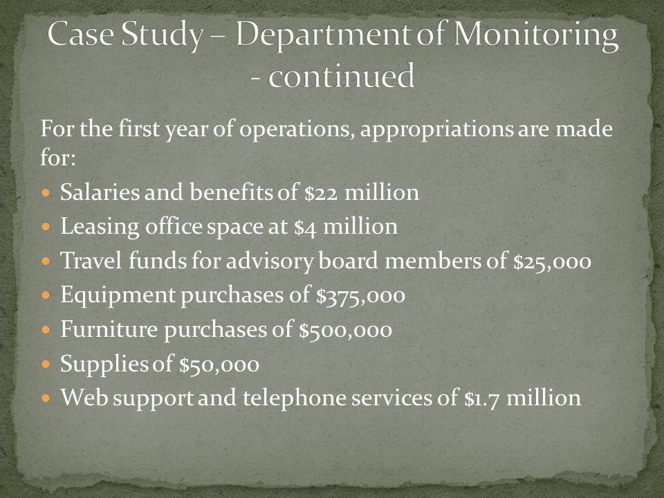 For the first year of operations, appropriations are made for: Salaries and benefits of $22 million Leasing office space at $4 million Travel funds fo