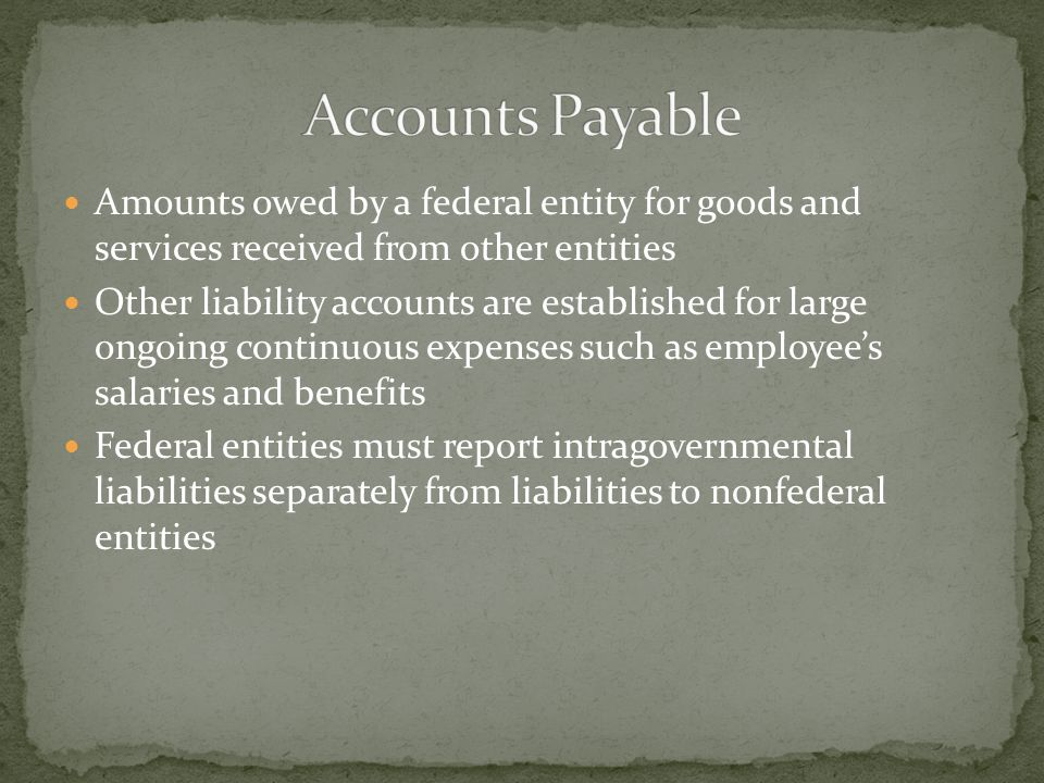 Amounts owed by a federal entity for goods and services received from other entities Other liability accounts are established for large ongoing continuous expenses such as employee's salaries and benefits Federal entities must report intragovernmental liabilities separately from liabilities to nonfederal entities