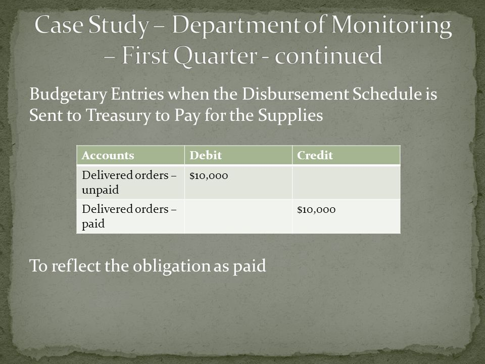 Budgetary Entries when the Disbursement Schedule is Sent to Treasury to Pay for the Supplies To reflect the obligation as paid AccountsDebitCredit Delivered orders – unpaid $10,000 Delivered orders – paid $10,000
