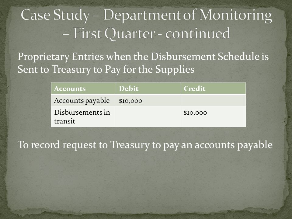 Proprietary Entries when the Disbursement Schedule is Sent to Treasury to Pay for the Supplies To record request to Treasury to pay an accounts payable AccountsDebitCredit Accounts payable$10,000 Disbursements in transit $10,000