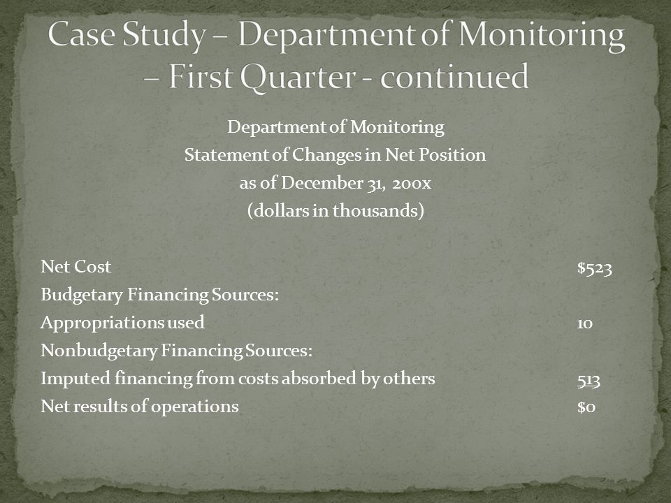 Department of Monitoring Statement of Changes in Net Position as of December 31, 200x (dollars in thousands) Net Cost$523 Budgetary Financing Sources: