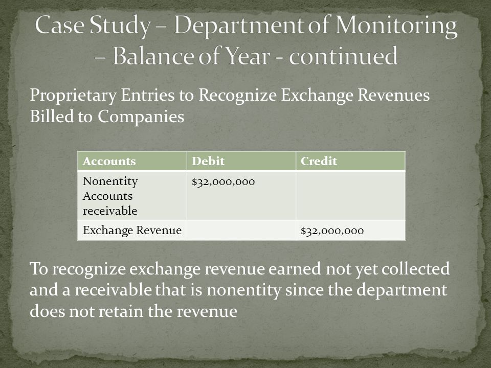 Proprietary Entries to Recognize Exchange Revenues Billed to Companies To recognize exchange revenue earned not yet collected and a receivable that is