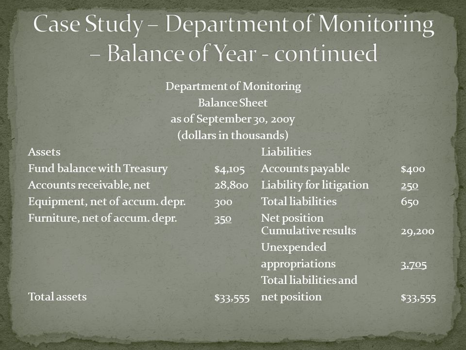 Department of Monitoring Balance Sheet as of September 30, 200y (dollars in thousands) AssetsLiabilities Fund balance with Treasury$4,105Accounts payable$400 Accounts receivable, net28,800Liability for litigation250 Equipment, net of accum.