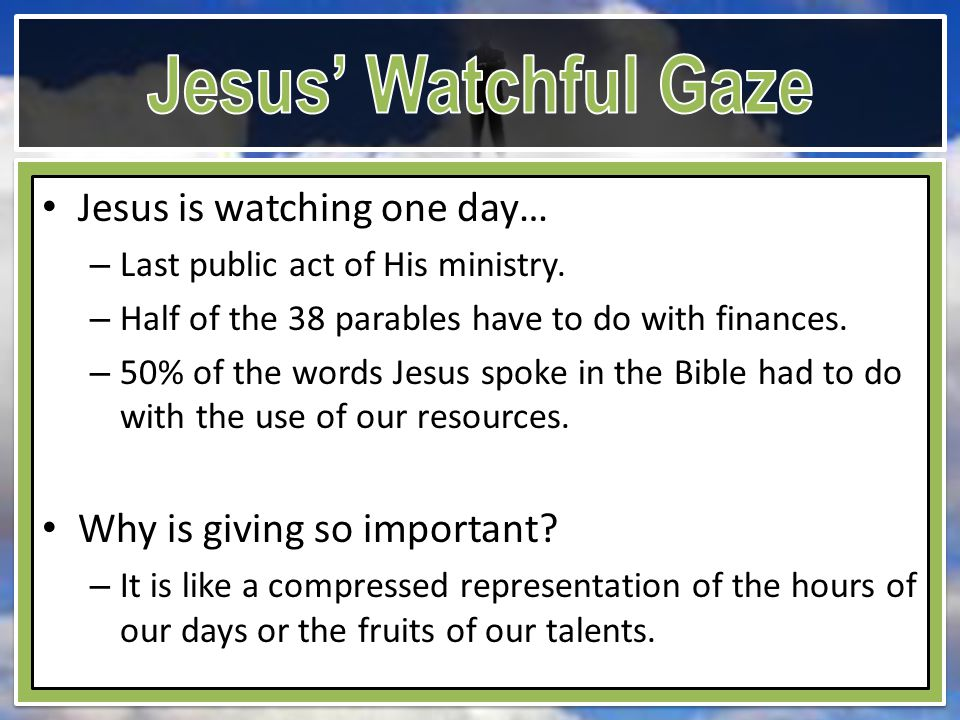 Jesus is watching one day… – Last public act of His ministry.
