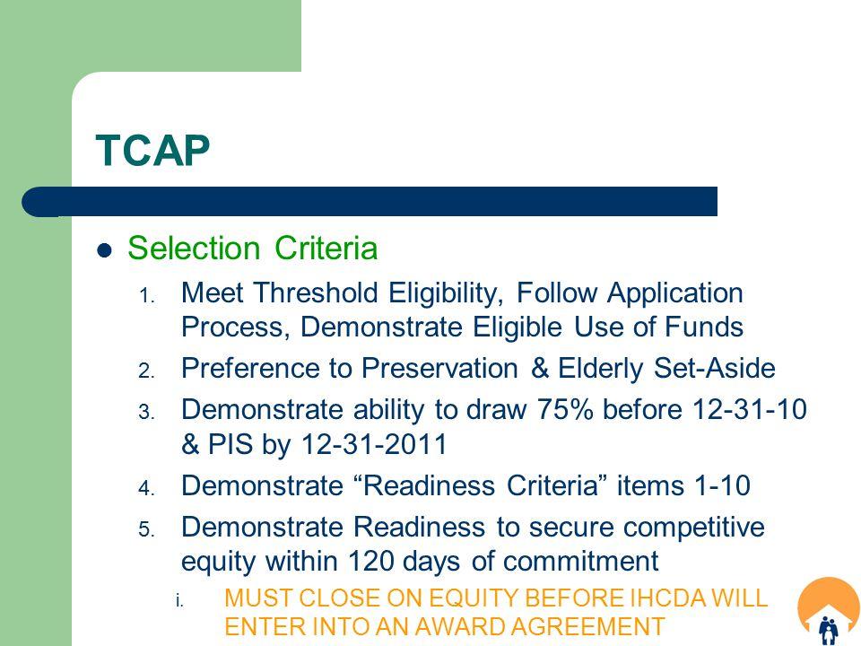 TCAP Selection Criteria 1.