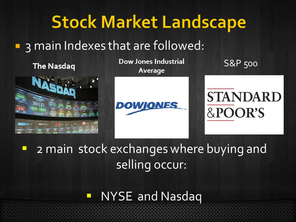  3 main Indexes that are followed: Dow Jones Industrial Average The Nasdaq S&P 500  2 main stock exchanges where buying and selling occur:  NYSE and Nasdaq