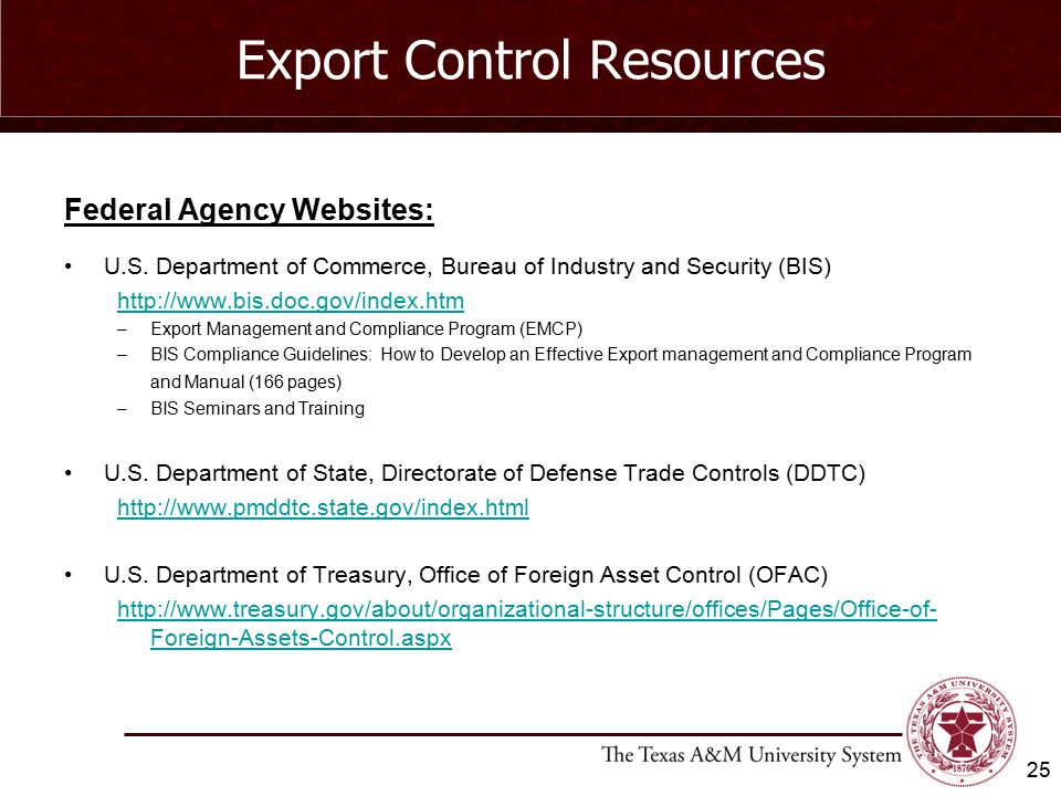 Export Control Resources Federal Agency Websites: U.S.