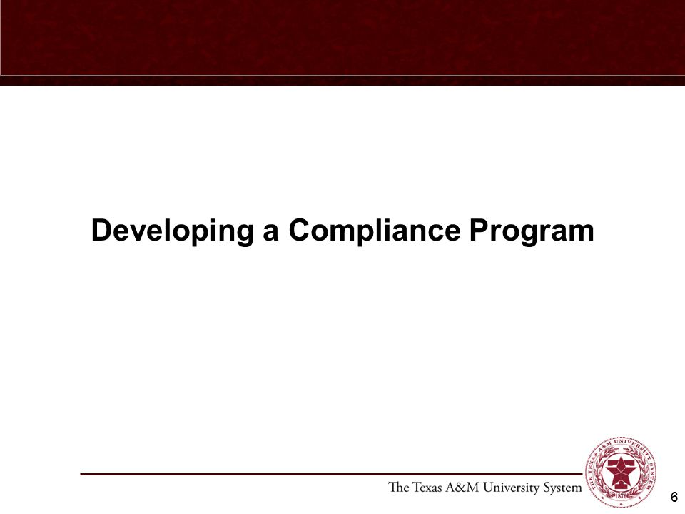Developing a Compliance Program 6