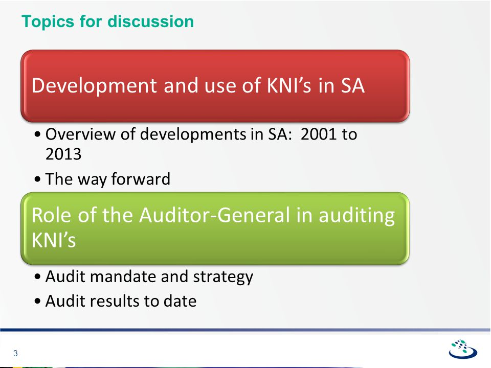 3 Topics for discussion Development and use of KNI's in SA Overview of developments in SA: 2001 to 2013 The way forward Role of the Auditor-General in auditing KNI's Audit mandate and strategy Audit results to date