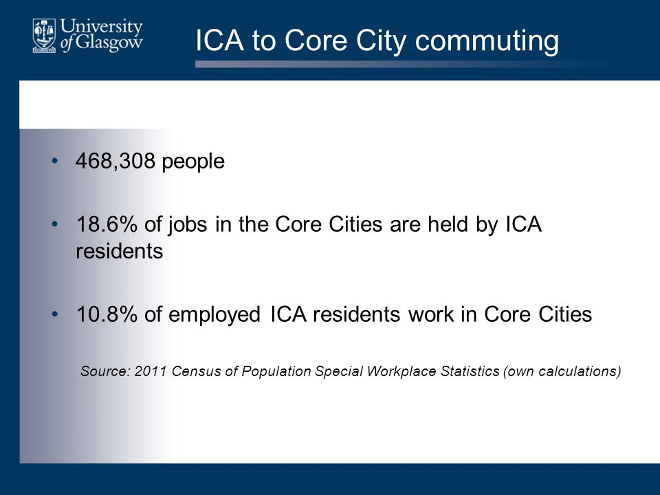 ICA to Core City commuting 468,308 people 18.6% of jobs in the Core Cities are held by ICA residents 10.8% of employed ICA residents work in Core Cities Source: 2011 Census of Population Special Workplace Statistics (own calculations)