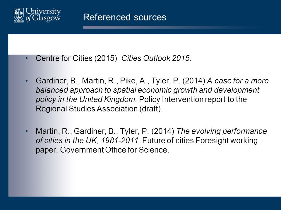 Referenced sources Centre for Cities (2015) Cities Outlook 2015.