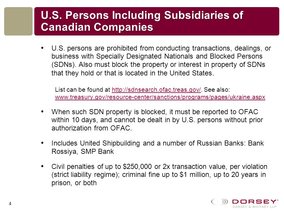 U.S. Persons Including Subsidiaries of Canadian Companies U.S.