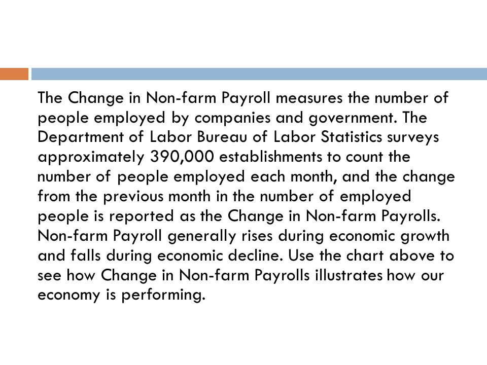 The Change in Non-farm Payroll measures the number of people employed by companies and government.