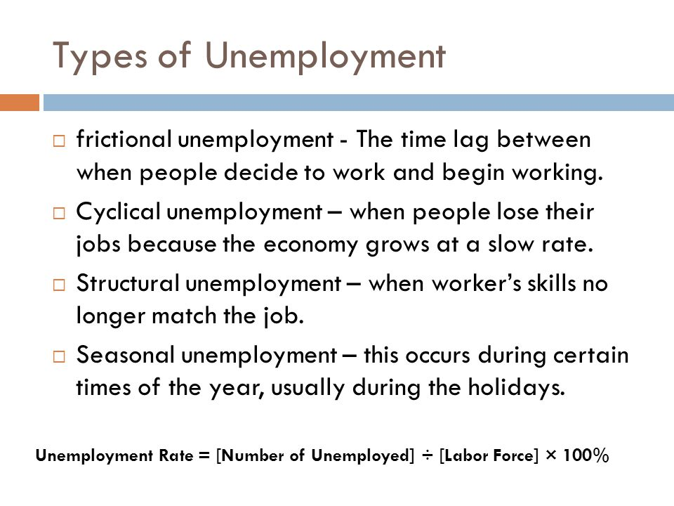 Types of Unemployment  frictional unemployment - The time lag between when people decide to work and begin working.