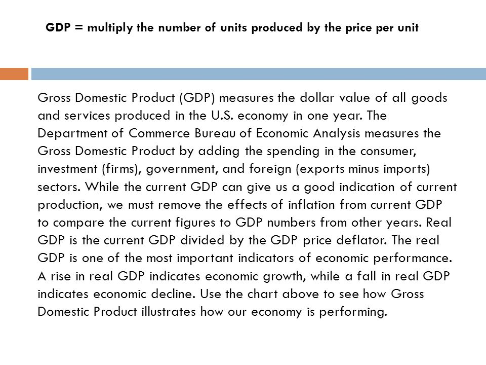Gross Domestic Product (GDP) measures the dollar value of all goods and services produced in the U.S.