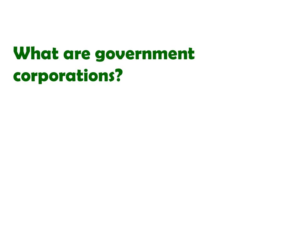 What are government corporations