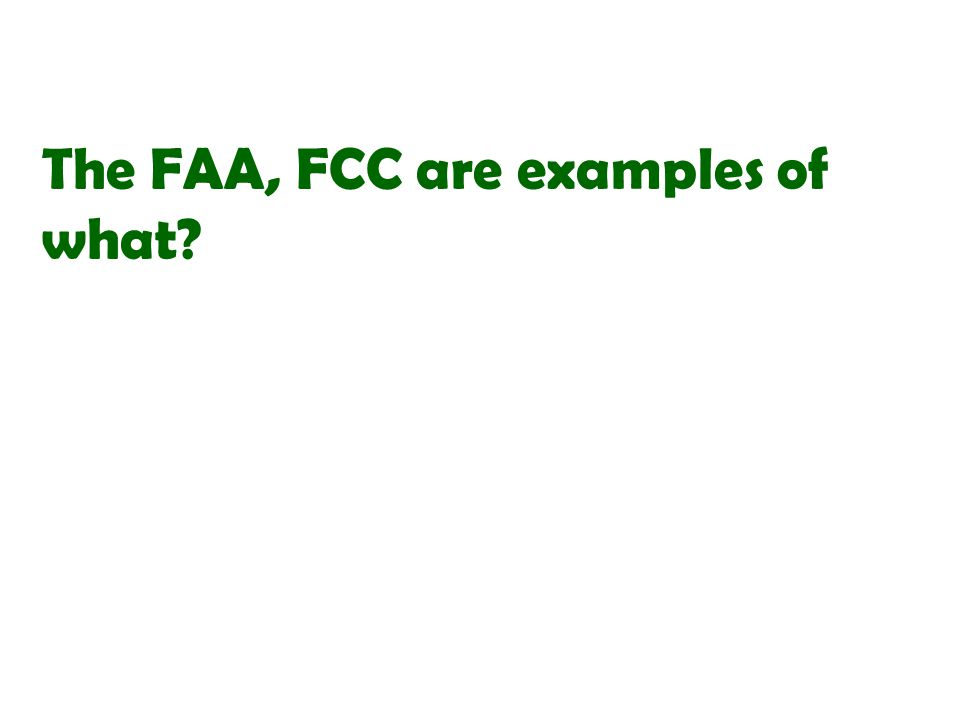 The FAA, FCC are examples of what