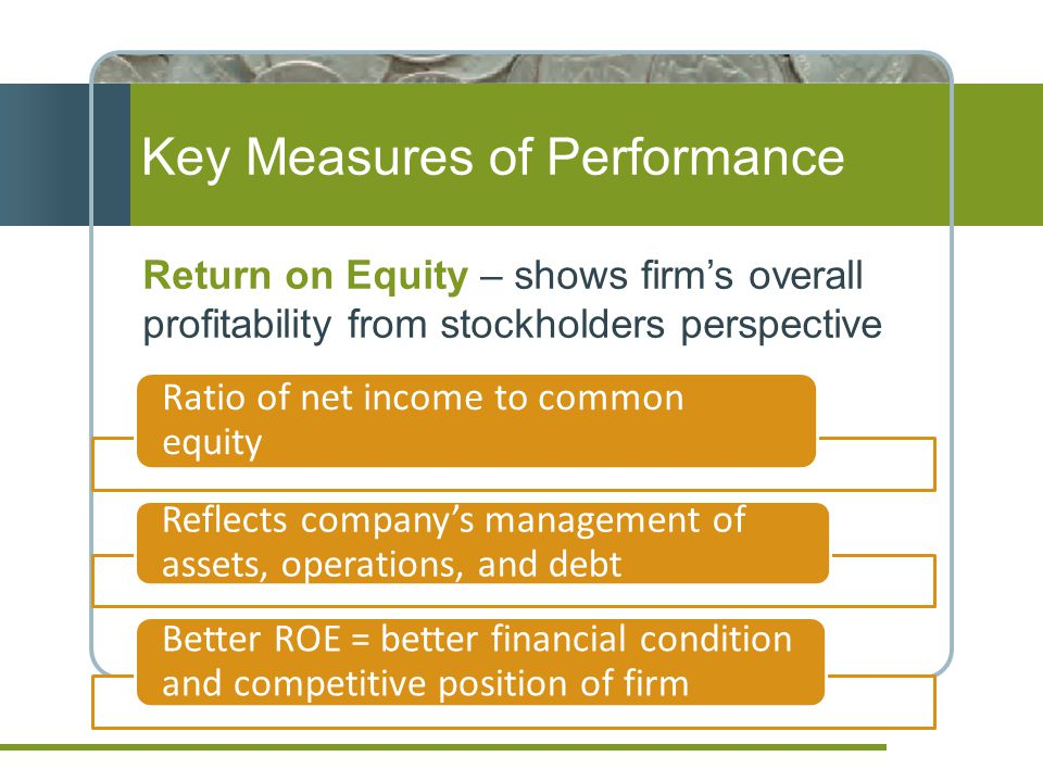 Return on Equity – shows firm's overall profitability from stockholders perspective Key Measures of Performance Ratio of net income to common equity Reflects company's management of assets, operations, and debt Better ROE = better financial condition and competitive position of firm