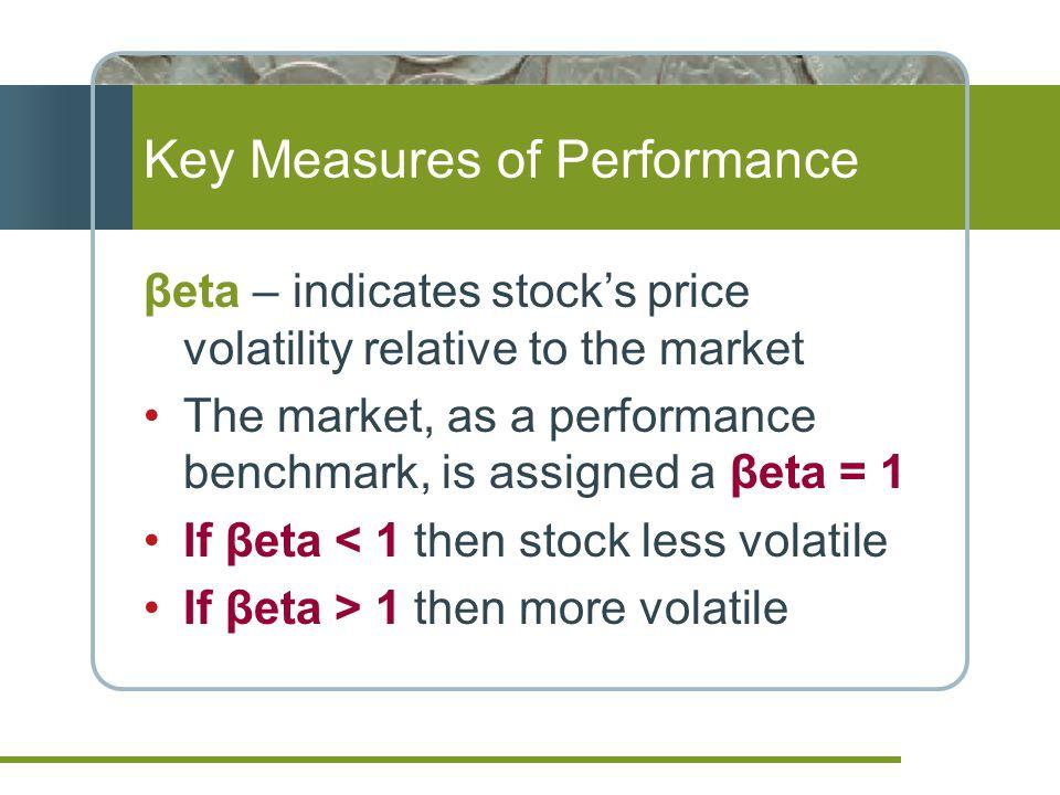 Key Measures of Performance βeta – indicates stock's price volatility relative to the market The market, as a performance benchmark, is assigned a βet