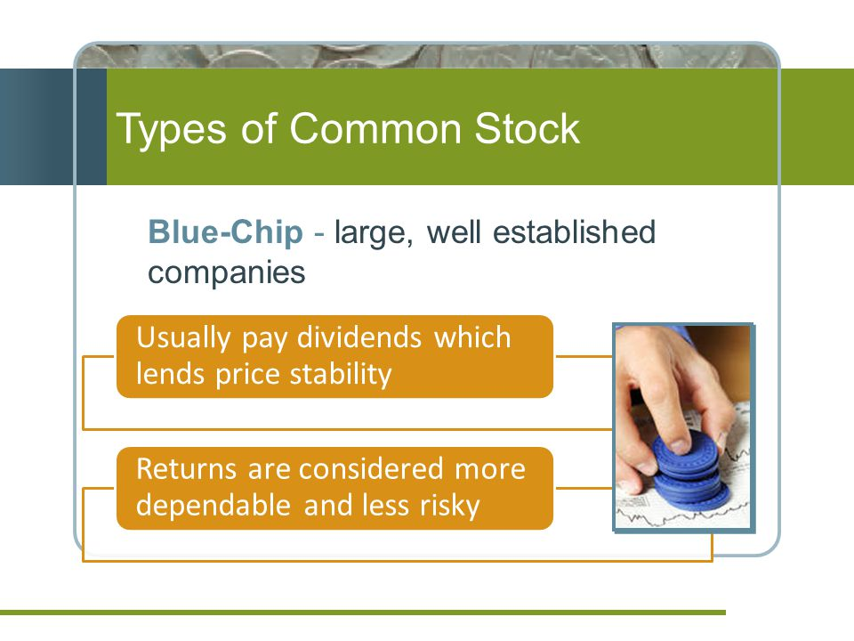 Types of Common Stock Blue-Chip - large, well established companies Usually pay dividends which lends price stability Returns are considered more dependable and less risky