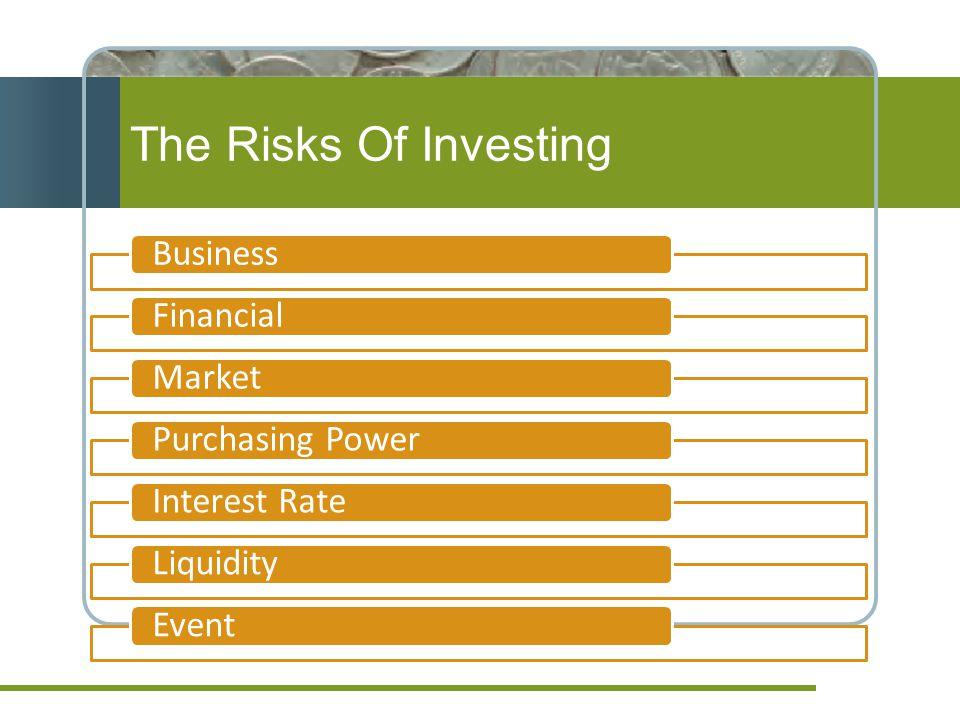 The Risks Of Investing BusinessFinancialMarketPurchasing PowerInterest RateLiquidityEvent