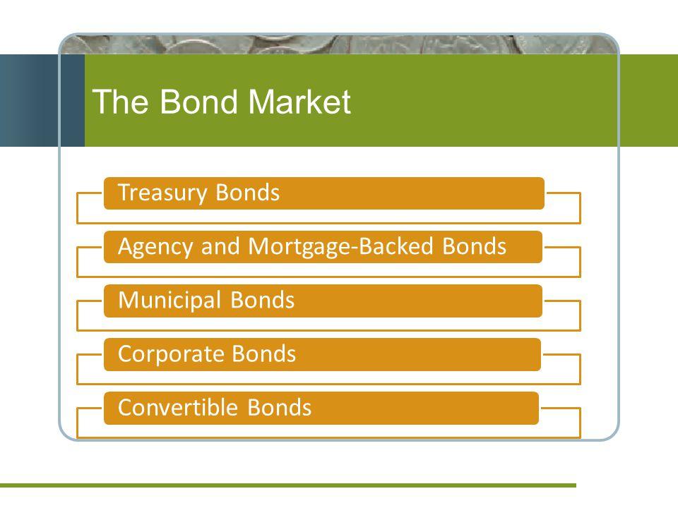 The Bond Market Treasury BondsAgency and Mortgage-Backed Bonds Municipal BondsCorporate BondsConvertible Bonds