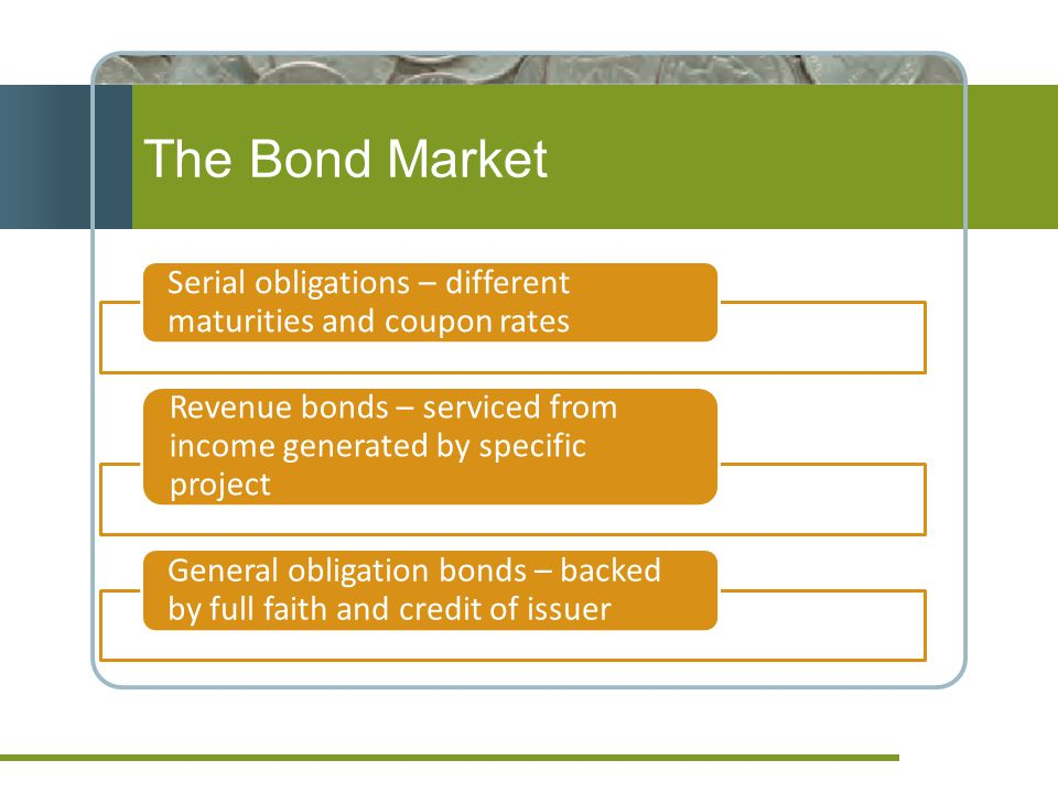 The Bond Market Municipal bonds Serial obligations – different maturities and coupon rates Revenue bonds – serviced from income generated by specific