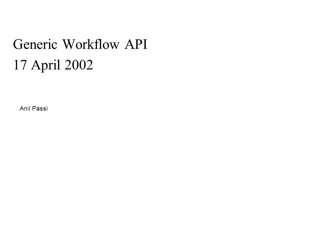 Generic Workflow API 17 April 2002 Anil Passi