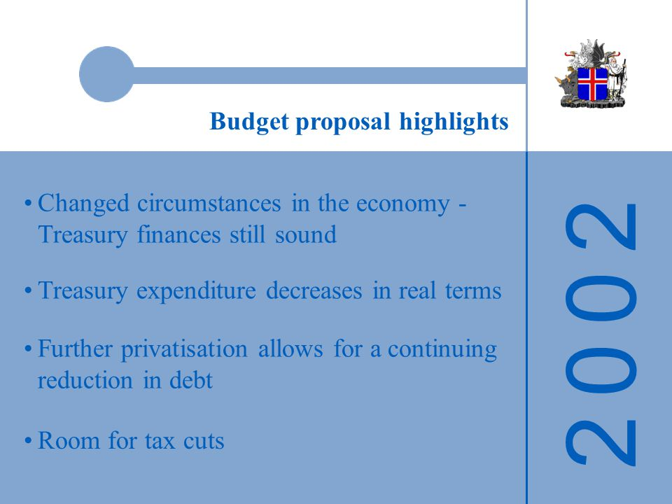 2 0 0 22 0 0 2 Changed circumstances in the economy - Treasury finances still sound Room for tax cuts Budget proposal highlights Further privatisation