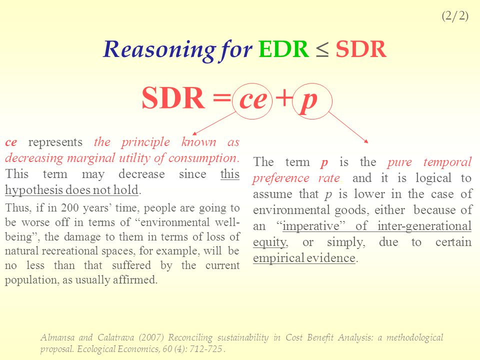 SDR = ce + p ce represents the principle known as decreasing marginal utility of consumption.