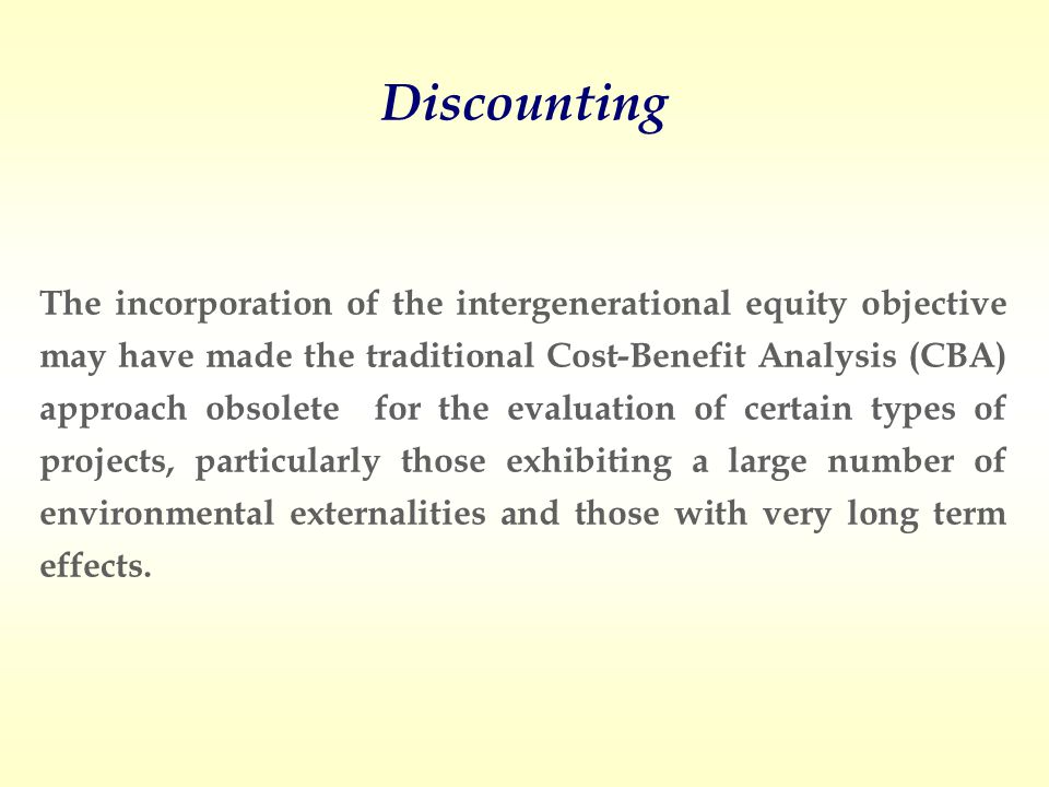 Green BookWeitzman A numerical example: Almansa and Calatrava (2007) The effect of Discounting: The present value in year + 100
