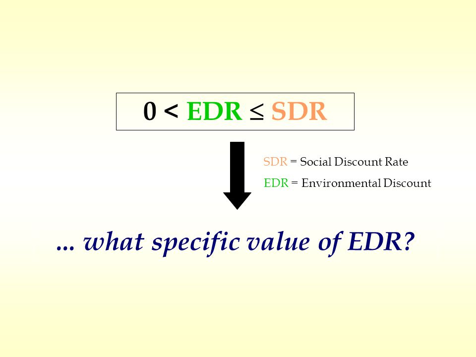 0 < EDR  SDR SDR = Social Discount Rate EDR = Environmental Discount Rate...