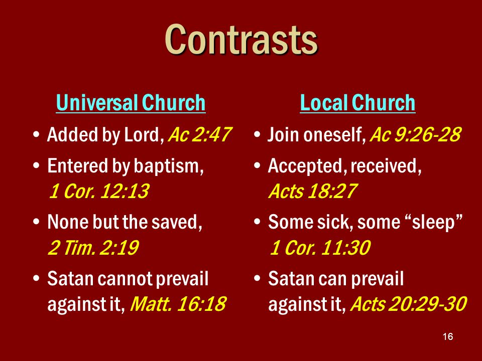 16Contrasts Universal Church Added by Lord, Ac 2:47 Entered by baptism, 1 Cor.