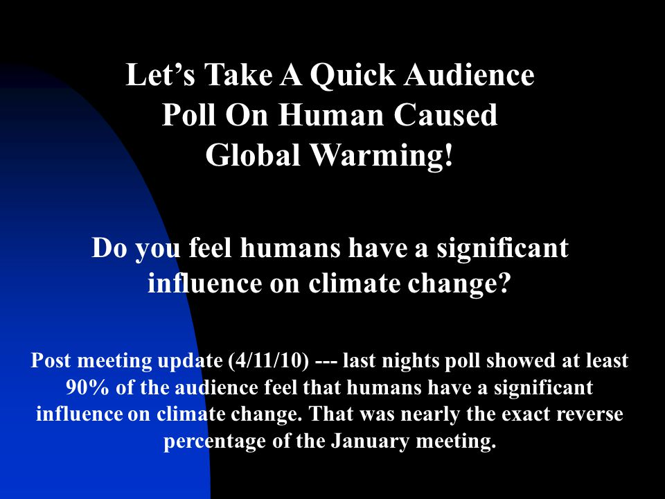 Let's Take A Quick Audience Poll On Human Caused Global Warming! Do you feel humans have a significant influence on climate change? Post meeting updat