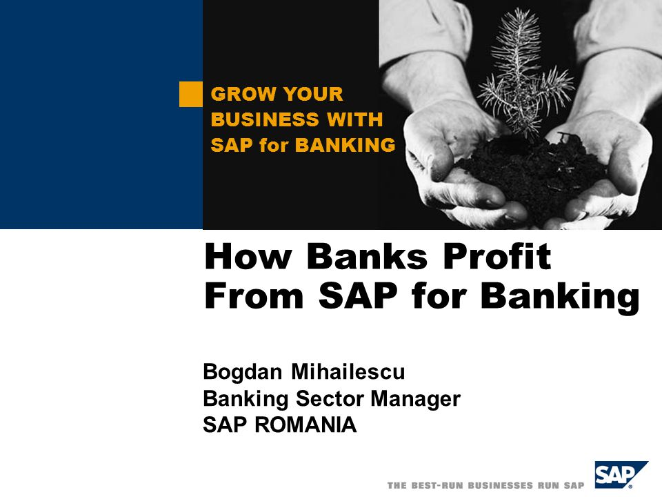 Solution Overview SAP for Financial Services SAP for Financial Services consists of the following solutions and applications: SAP Core Banking  Loans Management  Account Management  Collateral Management  Payment Engine SAP Enterprise Management  Profitability Analysis  Credit Risk Management  Market Risk Management  Asset Liability Management  Financials SAP Customer Information Management mySAP CRM mySAP ERP  Corporate Services  Operations mySAP HR mySAP SRM SAP xApps SAPNetWeaver Solution View SAP for Financial Services supports financial institutions in all major Markets: America Europe Asia Pacific … and processes Relationships Loans and Leasing Payments and Deposits Financial and Management Accounting Risk Management / reg.