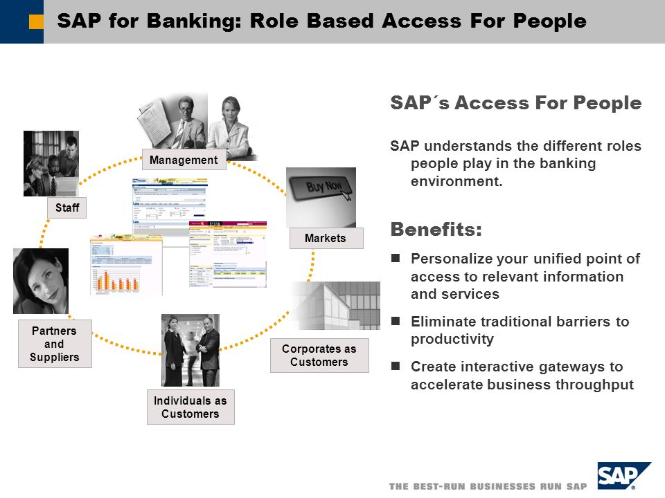 SAP for Banking: Role Based Access For People SAP´s Access For People SAP understands the different roles people play in the banking environment.