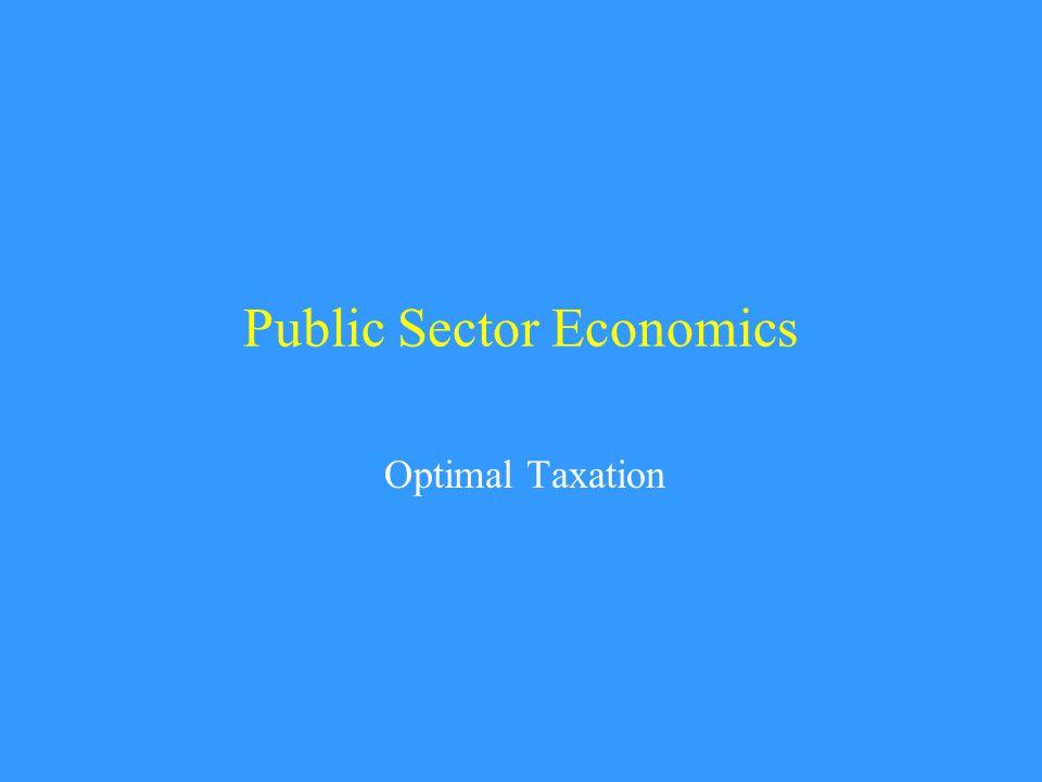 Public Sector Economics Optimal Taxation