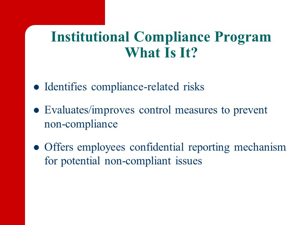 Institutional Compliance Program What Is It.