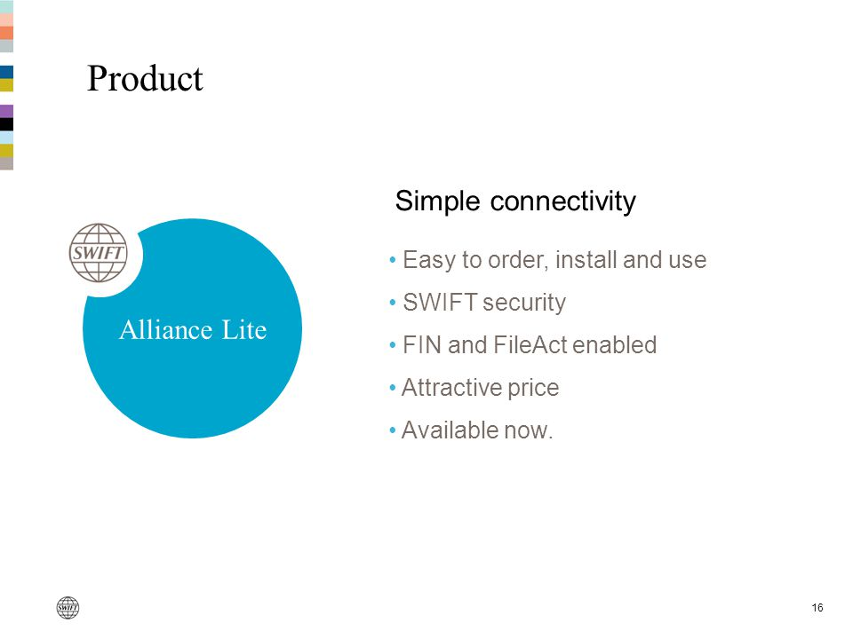 16 Easy to order, install and use SWIFT security FIN and FileAct enabled Attractive price Available now.